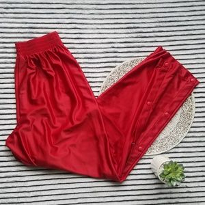 Nike Red Snap Tear Away Side Gym Athletic Pants L